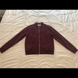 Used Mens Topman Burgundy Bomber Jacket